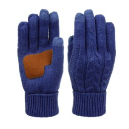12 of Ladies Cable Knit Winter Glove With Screen Touch And Suede Palm Patch In Royal