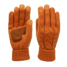 12 of Ladies Cable Knit Winter Glove With Screen Touch And Suede Palm Patch In Rust