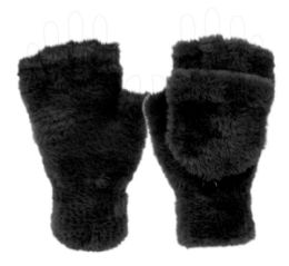 12 of Ladies Soft Fur Exposed Finger Winter Glove With Cover In Black