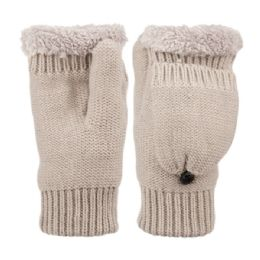 12 of Fingerless Winter Knit Mittens With Cover And Sherpa Lining