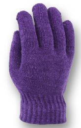 48 of Ladies Knit Chenille Glove In Assorted Color