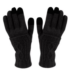 12 of Double Layer Knit Gloves With Screen Touch In Black