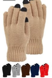 48 of Mens Heavy Knit Glove With Screen Touch Assorted Color