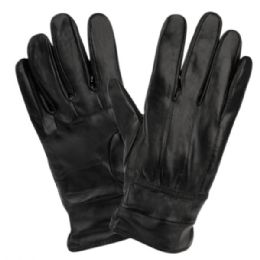 12 of Mens Genuine Leather Gloves With Faux Fur Lining And Elastic Cuff