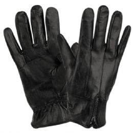 12 of Mens Genuine Leather Gloves With Faux Fur Lining And Zipper Cuff