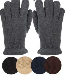 24 of Mens Thermal Fleece Glove In Assorted Color