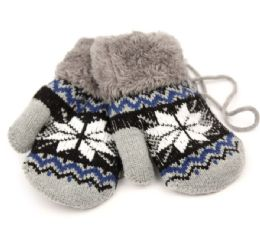 24 of Winter Knit Kids Mittens With Warm Sherpa Lining And String