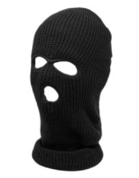 24 of 3 Holes Winter Sports Knit Mask In Black