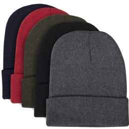 100 of Adult Knit Hat Beanie 5 Assorted Colors
