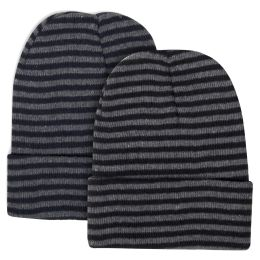 100 of Adult Knit Hat Beanie Striped Pattern
