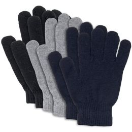 100 of Adult Knitted Gloves 3 Assorted Colors