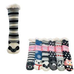 36 of Plush Lined Non Slip Sherpa Socks Critter Faces