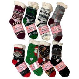36 of Plush-Lined Non Slip Sherpa Socks Holiday Assortment