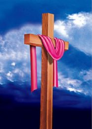 40 of 3D Picture Cloth Draped Wooden Cross