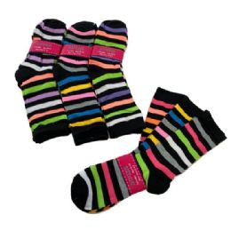 60 of 3 Pair Ladies Crew Socks Multi Color Stripe