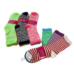 60 of 3 Pair Ladies Crew Socks Two Color Thin Stripe