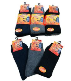 60 of 3 Pair Mens Thermal Crew Socks Black Grey Navy