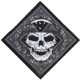 60 of Bandana Black Paisley With Large Skull
