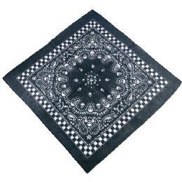 60 of Bandana Black Paisley Skull with Checkerboard Border