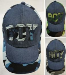 48 of Boy's Embroidered Ball Cap Denim And Camo