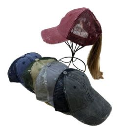 48 of Denim Washed Mesh Pony Tail Hat
