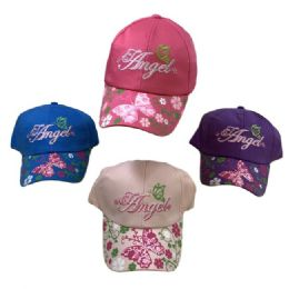 36 of Girl's Embroidered Ball Cap Angel Printed Bill