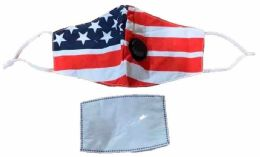 36 of USA Flag Cloth Face Cover With Filter And Valve