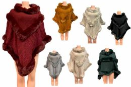 12 of Solid Color Faux Fur Poncho Assorted