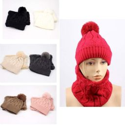 12 of Lady Winter Pompom Hat with Neck Cover Set
