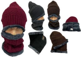 24 of Man Plush lining Winter Beanie Hat And Neck Cover Set