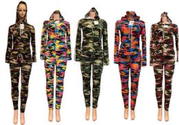 12 of Assorted Camo Workout Clothes Set