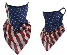 24 of USA Flag Style Face Mask With Earloops