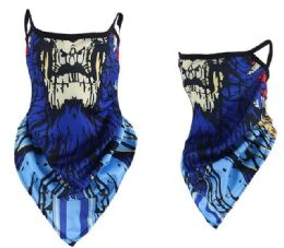 24 of Blue color Skull Style Face Mask With Earloops