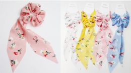 72 of Assorted Color Flower Print Scrunchies