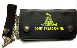 8 of Yellow Snake Don't Tread On me Biker Leather Wallet