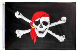 24 of Pirate With Eye Patch Red Bandana Flag