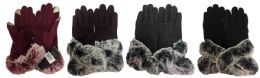 24 of Winter Touch Gloves Solid Color with Faux Fur