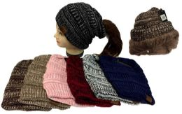 24 of Knitted Pony Tail Beanie Plush Lining Winter Hat