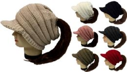 24 of Knitted Whinter Pony Tail Hat Plush Lining Winter Hat