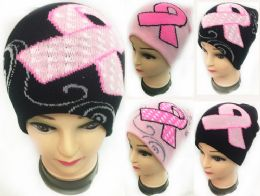 48 of Winter Knitted Beanie Pink Ribbon Breast Cancer Assorted