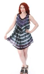12 of Indian Rayon Top Tie Dye With Embroidery Assorted