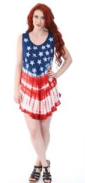 12 of Indian Rayon Top Tie Dye American Flag Design Assorted