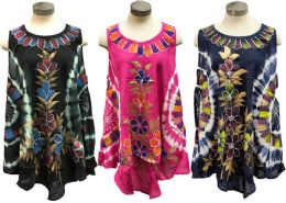 12 of Indian Rayon Top Tie Dye Hand Painted Flowers Assorted