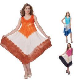 12 of Rayon Acid Wash Dye Umbrella Dresses
