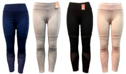 12 of Solid Color Legging Assorted Colors Mesh Inserts