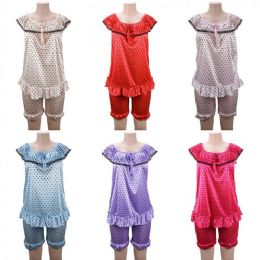 24 of Women Pajama Night Gown 2 Piece Heart Print Assorted