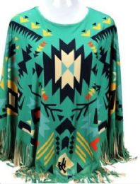 4 of Montana West Aztec Pattern Tan Poncho With Fringe