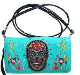 6 of Sugar Skull Turquoise Wallet Purse