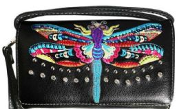 6 of Wallet Purse Rainbow Dragonfly Design Black