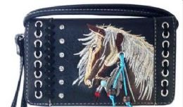 6 of Rhinestone Wallet Purse With Horse Embroidery Black